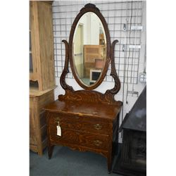 Antique Canadiana painted oak two drawer bedroom dresser with oval bevelled mirror