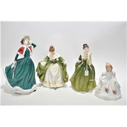 """Two Royal Doulton figurines including """"Christmas Day"""" HN4315 and """"Hannah"""", """"Fleur"""" HN2368, plus figu"""