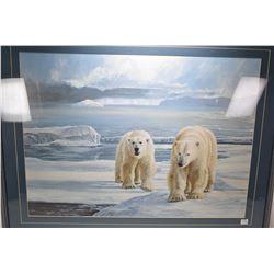 Framed print of a pair of polar bears by artist Calvert