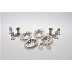 Selection of sterling silver including four nut dishes, International Sterling shakers, small crysta