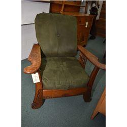 Antique quarter cut oak reclining Morris chair with newer upholstery