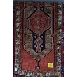 100% wool Iranian Sarab runner/ area carpet with large medallion and floral design, red background a