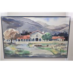 """Framed original watercolour painting of a church in a mountain setting by D. Philips, 13"""" x 20"""""""