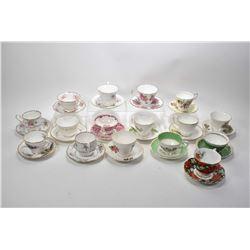 Sixteen teacups and saucers including Royal Albert, Crown Stafford, Grafton, Coalport, Royal Vale, P