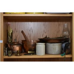 Shelf lot of collectibles including lanterns, scales, copper pots, stoneware, candle holders, blow t
