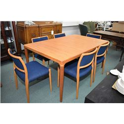 Set of six appears to be original J.L. Moller model 80 mid century modern teak chairs, recently re-u