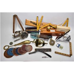 Tray lot of vintage collectibles including folding rulers, straight razor in case, brass document ho