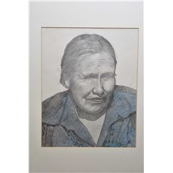 Framed original portrait pencil on paper drawing of a Southwestern native woman, inititalled by arti