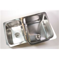 Kindred heavy gauge two compartment undermount kitchen sink with two strainers, retail $550.00 in un
