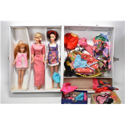 Vintage Barbie doll travel case and three dolls including Skipper doll, plus a large selection of ac