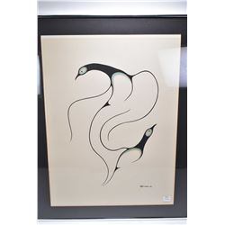 Framed Inuit serograph of two birds