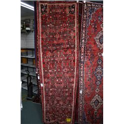 100% wool Iranian Hamadan runner/ area carpet with overall geometric pattern, red background and hig