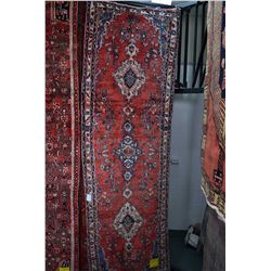 100% wool Iranian Hamadan runner/ area carpet with triple medallion, floral pattern, red background