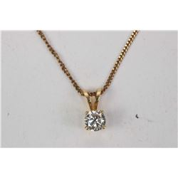 "Ladies 10kt yellow gold 15"" neck chain and a brilliant cut 0.21ct diamond solitaire and 10kt yellow"
