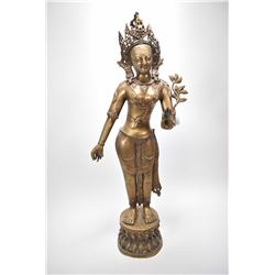"Vintage bronze statue of an Oriental diety 33"" in height"