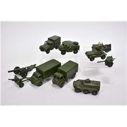 Selection of vintage Dinky Toys Military vehicles including 3 ton Army truck, Army wagon, Army 1 ton