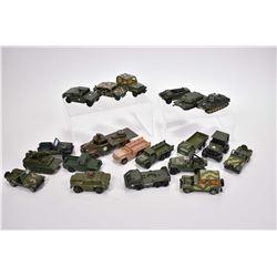Selection of vintage military die cast vehicles, various makers including Mattel, Tecno, Matchbox et