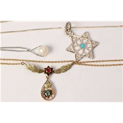 Two sterling silver neck chains and pendants including pearl drop and turquoise inlaid star and a vi