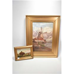 """Gilt framed oil on canvas painting of a Dutch windmill, no artist signature seen, 18"""" X 12"""" and a sm"""