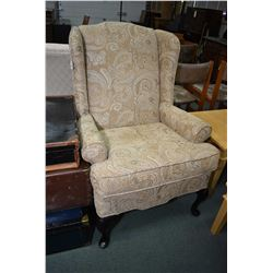 Two paisley upholstered wing back parlour chairs