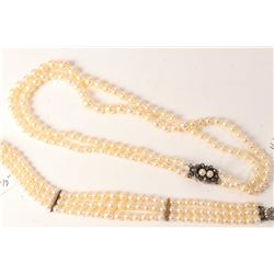 """Vintage knotted and graduated double strand 13"""" choker of genuine pearls with maracasite and pearl c"""
