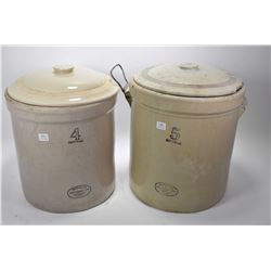 Two lidded Medalta stoneware crocks including four gallon and a five gallon (missing one handle)