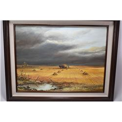 Framed acrylic on board painting of a stormy sky over a wheat field signed by artist Jerry Doell, 18