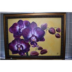 """Large oil on canvas still-life painting of an orchid signed Jules R., 28"""" X 39"""""""