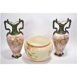 """Pair of Sylvan double handled 13"""" vase with transferware floral and hand gilt and a Crown Ducal hand"""