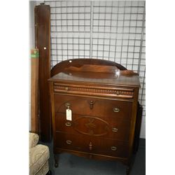 Depression era four drawer walnut highboy and matching double sized head board, foot board with rail