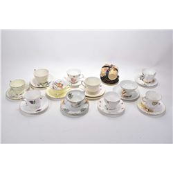 Nine china cups and saucers including Consort, Queens, Paragon etc. plus two MidWinter semi porcelai