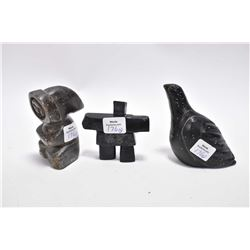 Three carved soapstones including a bird, a figure 3 1/2  in height and signed Ken Gough and an inuk