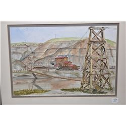 """Framed original watercolour painting labeled on verso """" Rosedale's Suspension bridge over the Red De"""