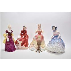 "Four Royal Doulton figurines including ""Sarah"" HN3380, ""Louise"" HN3207, ""Loretta"" HN233(?) and ""Alic"