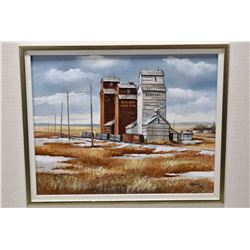 Framed original acrylic on board painting of three grain elevator labelled Albert Wheat Pool and Fed