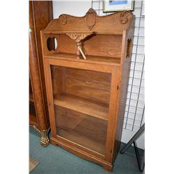 """Antique Canadiana oak single door book/display cabinet, 63"""" in height"""