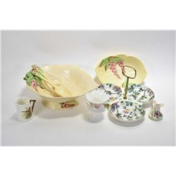 Selection of china collectibles including Carltonware footed salad bowl with servers and small match