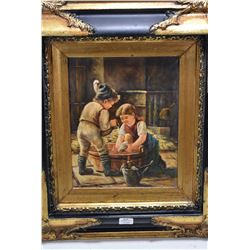 Gilt framed acrylic on board painting of two small children bathing a doll, signed by artist L. Muck