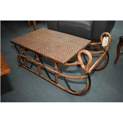 Unusual bamboo sleigh motive coffee table