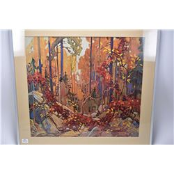 """Two framed """"Group of Seven"""" prints including """"Autumn's Garland"""" by Tom Thomson and """"Algoma Waterfall"""