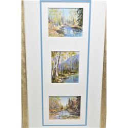 Triple framed orginal acrylic on paper landscape paintings signed by artist Betty Johnston