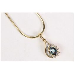 14kt yellow gold, diamond and alexandrite pendant and neck chain. With a 14kt yellow gold hexagonal