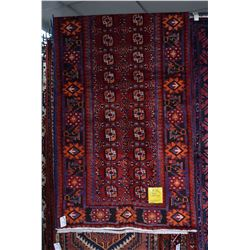 100% wool Iranian Ferdos runner/ area carpet with overall geometric pattern, cranberry background wi