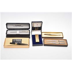 Selection of collectible pens including boxed Parker , a Newman pen with ink cartridge and a gold pl