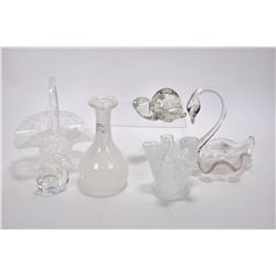 """Six pieces of art glass, two with Alta glass labels and one signed """"Made in Canada by Hand"""""""
