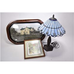 """Modern cast table with leaded and slag glass shade a small framed limited edition print """"Vermilion F"""