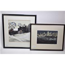 Framed original watercolour and gouache painting of a urban street scene, no artist signature seen,