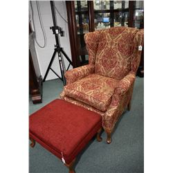 Vintage wing back chair with cabriole feet and small upholstered foot stool