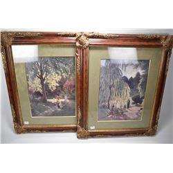 Two matched framed prints, both park scenes