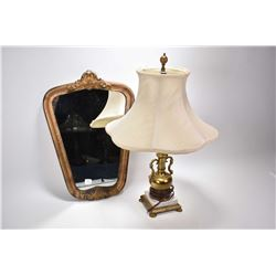 Gilt framed vintage wall mirror and a urn style brass and marble table lamp